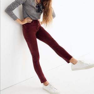 "Madewell 10"" High-Rise Skinny Jeans Stretch Velvet"